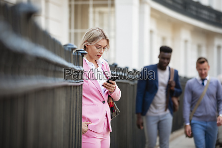 businesswoman browsing social media