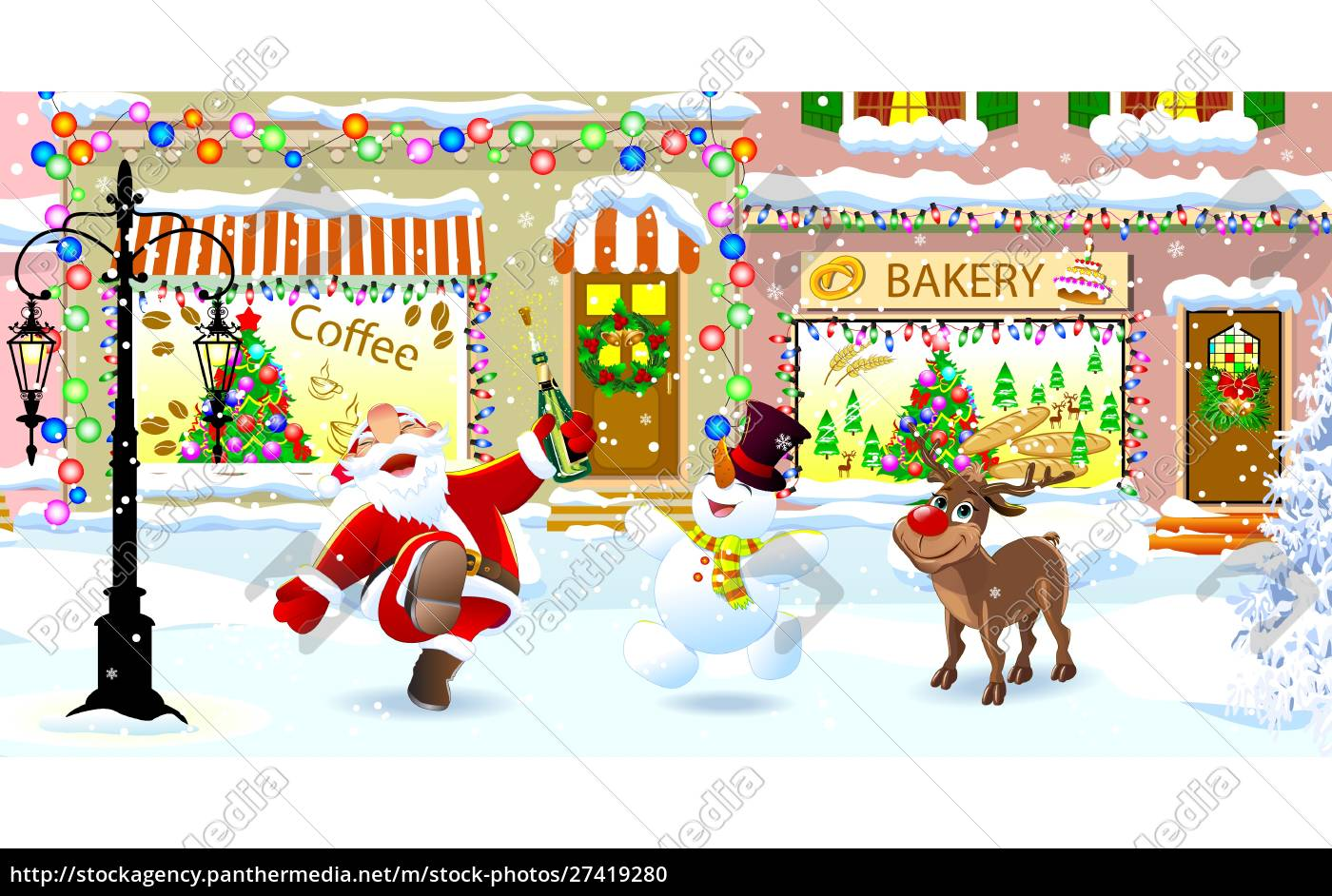 santa, claus, , deer, and, snowman, on - 27419280