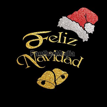 glittering christmas card feliz navidad