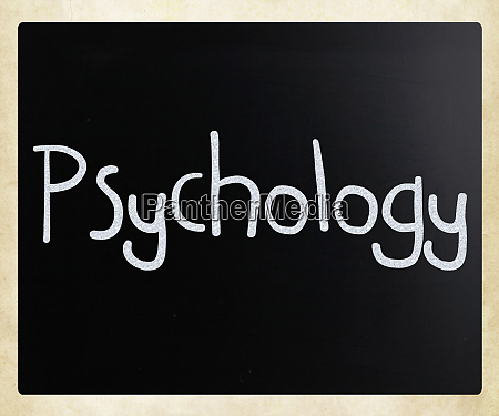 the word psychology handwritten with white