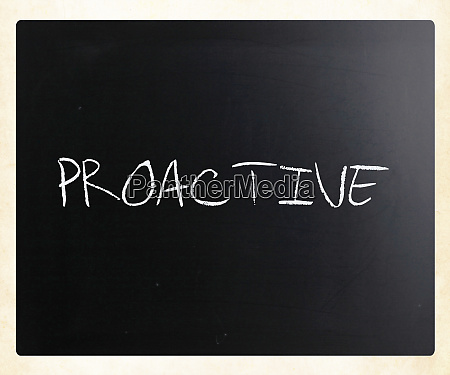 the word proactive handwritten with white