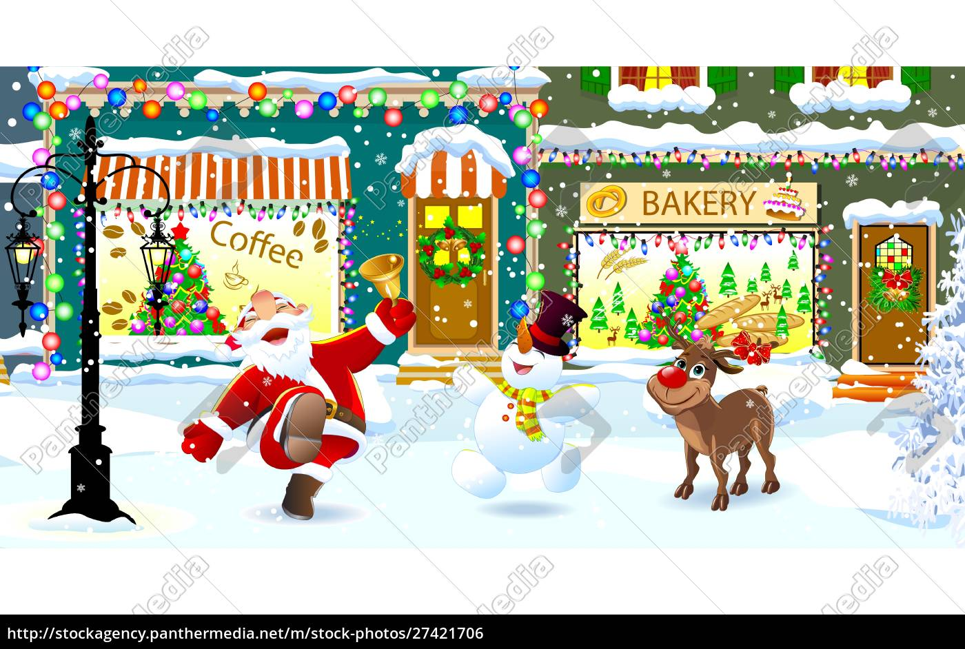 happy, santa, , reindeer, and, snowman, celebrate - 27421706