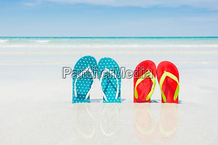 beach slippers on tropical beach