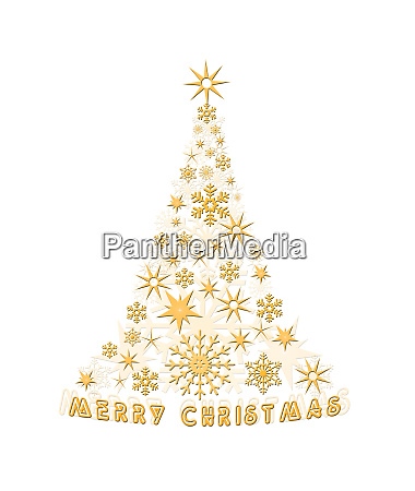 christmas decoration tree with gold stars