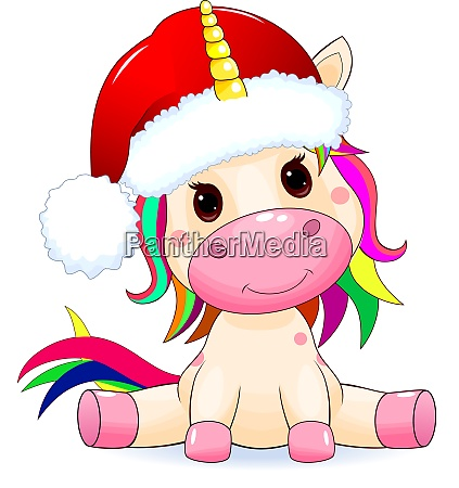 unicorn baby with santa hat