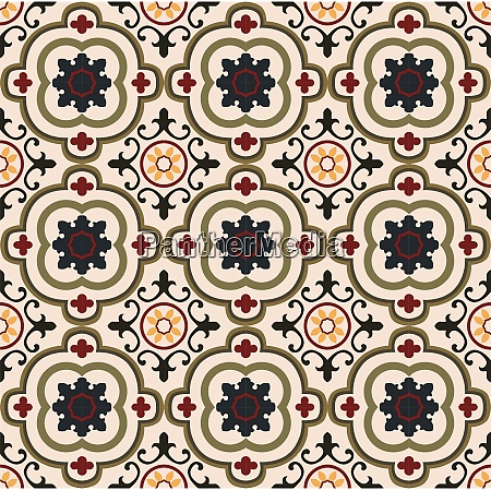vintage seamless floral tiles pattern