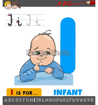 letter i worksheet with cartoon infant