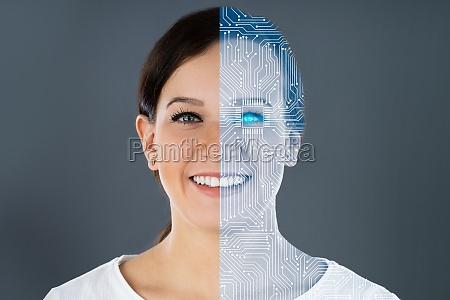 woman half robot face