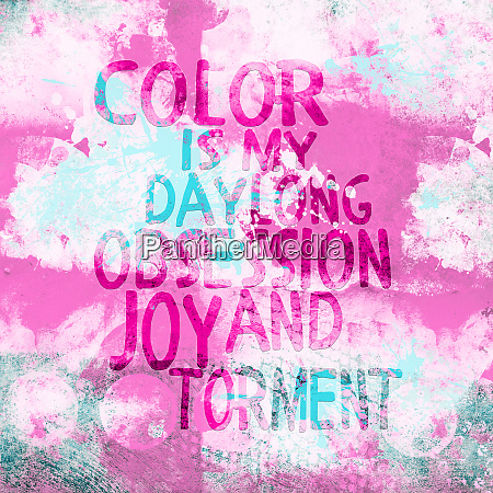 color quote on pink abstract background