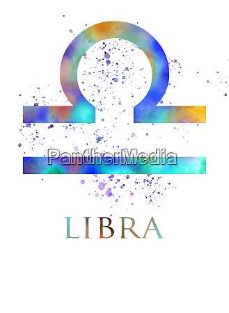 libra zodiac sign in watercolor