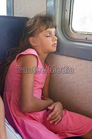 tired girl fell asleep in an