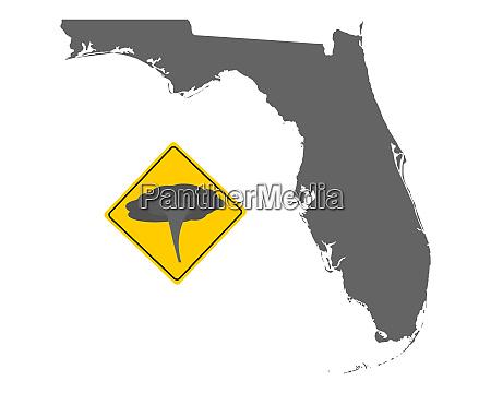karte von florida mit verkehrsschild tornadowarnung