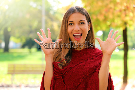 portrait of funny positive laughing girl