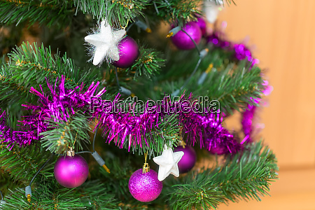 violet decorated christmas tree