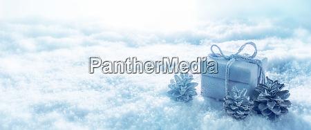 blue christmas still life in snow