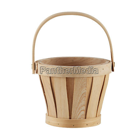 wooden basket isolated on a white
