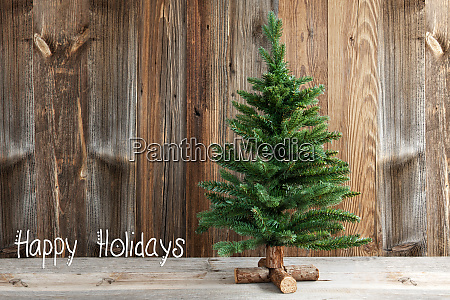 christmas tree calligraphy happy holidays wooden