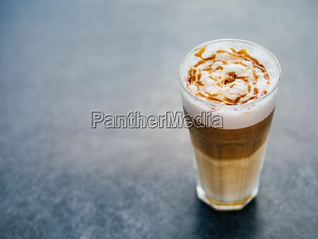 latte macchiato coffee on tabletop copy