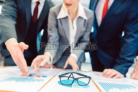team of financial advisors analyzing data