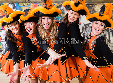 german folklore group dancing in carnival