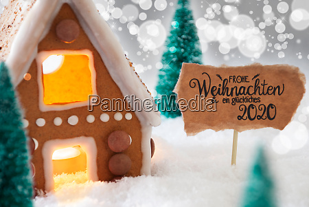 gingerbread house snow glueckliches 2020 means