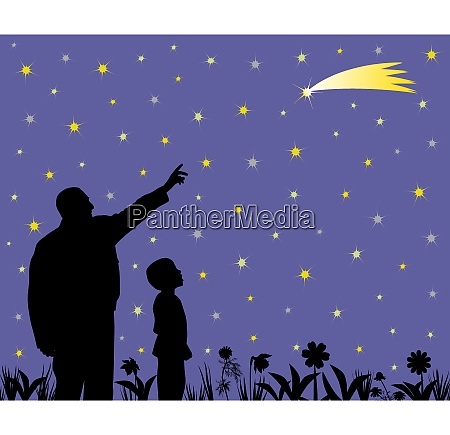 father is showing shooting star to