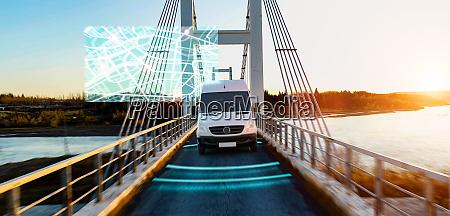 autonomous transporter car driving on a