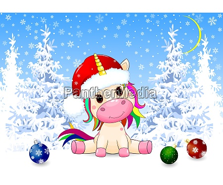 unicorn, baby, in, the, winter, forest - 27435768