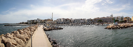 view from the harbor entrance into