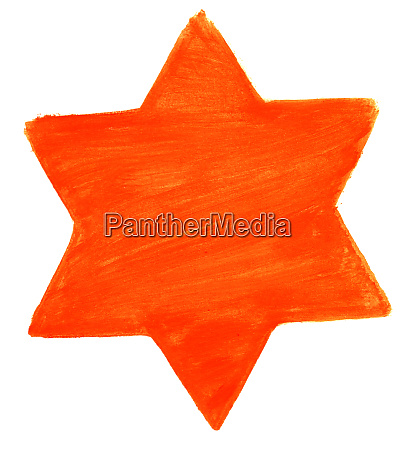 hand painted watercolor star with orange