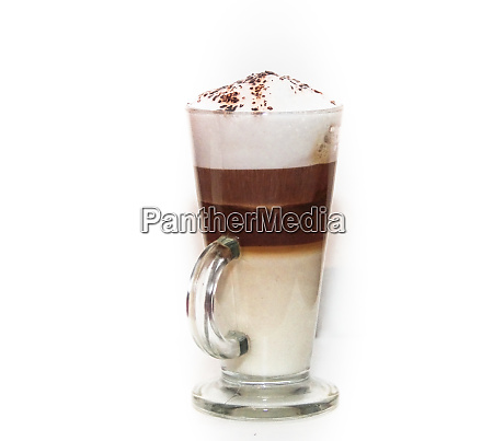 cappuccino in tall glass on white