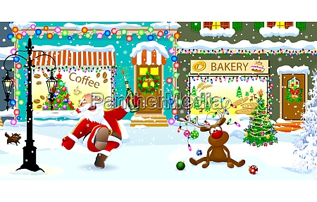 merry, santa, and, deer, on, christmas - 27437328