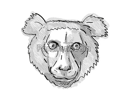 indri endangered wildlife cartoon retro drawing