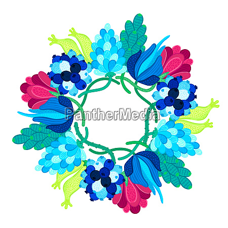 frame with beautiful colorful flowers speckled