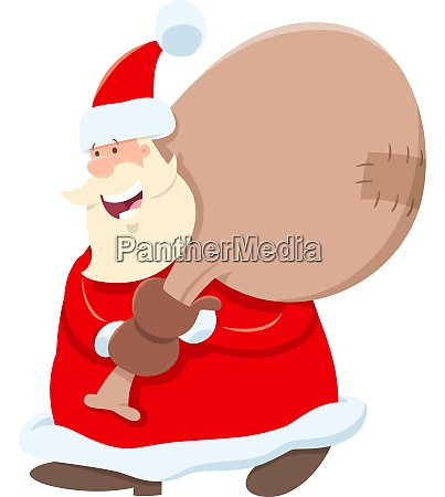santa claus cartoon character with sack