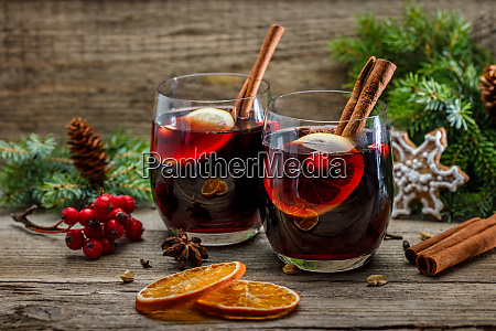 mulled wine in glasses in christmas