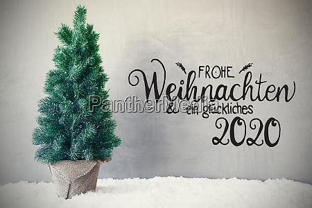 christmas tree snow gray background glueckliches