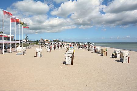 beach and promenade of dahme at