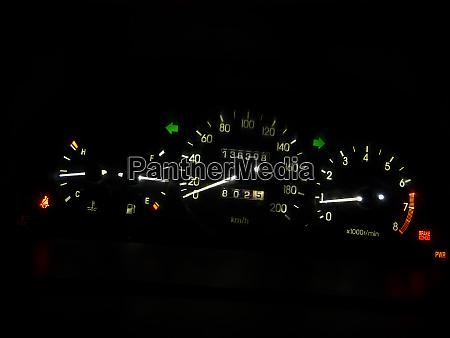 car dashboard in the dark