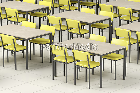 empty cafeteria with modern furniture