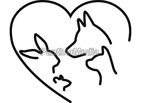 heart with dog cat rabbit and
