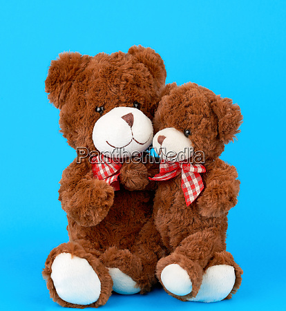 two brown teddy bears with bows