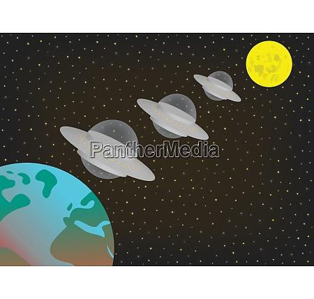 three ufo spaceships flying in row