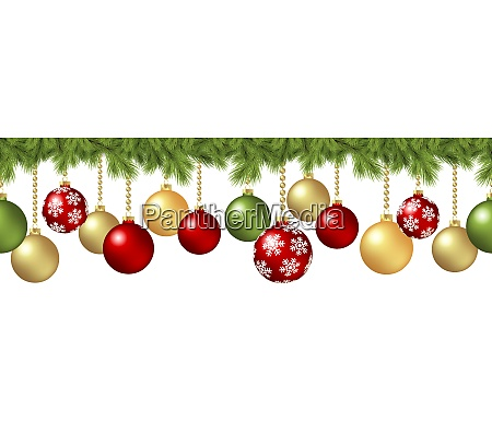 seamless christmas baubles concept with fir