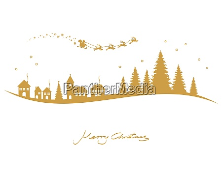 santa claus reindeers church and conifers