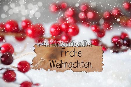 red decoration snow label frohe weihnachten