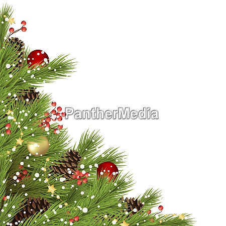 decorated christmas fir branches concept with