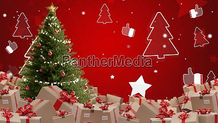 festive presents postal parcel shipment 3d