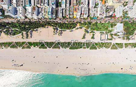 aerial view above miami beach florida