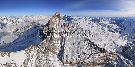 aerial view of the matterhorn mountain